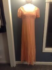 Vintage Sheer Peach Long Maxi Wedding BOHO Flowy Dress With Pearl Beading Lined
