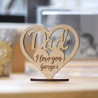 Personalised Dad Keepsake Wooden Ornament Heart, Father's Day Gifts, Birthday