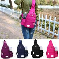 Women Nylon Sling Chest Pack Shoulder Bag Crossbody Handbag Casual Travel Bags