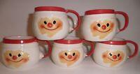 Set of 5 Vintage HOLT HOWARD Christmas CLOUD SANTA Ceramic Mugs Japan 1967