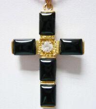 Black Agate Onyx 18KGP Crystal Cross Christmas Men Women Pendant Chain Necklace