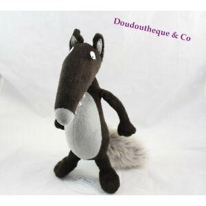 Peluche le loup AUZOU Loup tout nu marron et gris 27 cm (MO4629)