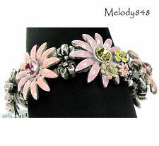 PILGRIM DAISY FLOWER Bracelet Vintage Silver Dusty Pink Enamel & Swarovski BNWT