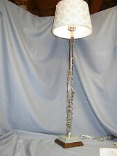 FLUTE LAMP  EMERSON SILVER ON A BLUE/GREY CORIAN STEP & WALNUT WOOD-ATTRACTIVE