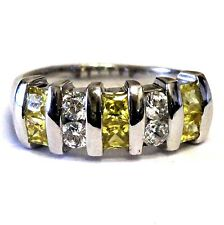 925 sterling silver yellow white cz band ring 5.0g vintage estate antique