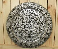 Vintage hand made ornate floral wall hanging metal plate