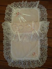 Frilly Pink / White Dolls Pram Set Hand Decorated with Lace/Satin