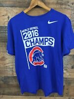 Nike Chicago Cubs 2016 World Series Champions Men's Blue Tshirt Size XL