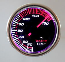 "2"" Water Temp Gauge in Celisus 7 Colors Smoke Lens 12 Volt  Back Lit 270 Degree"