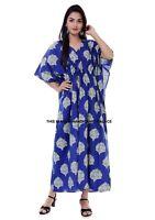 Indien Coton Caftan Grande Taille Bleu Imprimé Floral Robe Été Long Caftan Robe