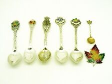Canadian Silver Enamel Souvenir Spoons & Brooch, Sterling, Toronto, Ottawa etc