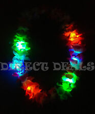 4 Hawaiian Lei LED Light Up Flashing Flowers Luau Hawaii Vacation Hula Necklace