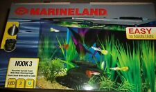 Nook Marineland Aquarium Kit 3 Gallon Curved Tank Led Lights System Pump Filter