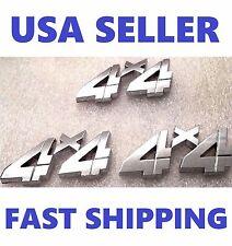 3X Chrome 4X4 EMBLEM 4 X 4 GMC Car TRUCK logo DECAL SIGN ornament SUV new** .fv