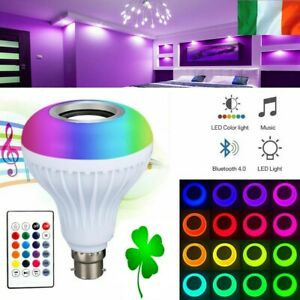 B22 LED Light Bulb RGBW Wireless Bluetooth Speaker Music Player Remote Lamp