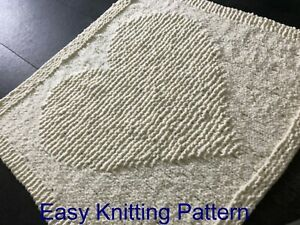 KNITTING PATTERN for beginners Baby Blanket - Easy & Quick - Simple Chunky Heart