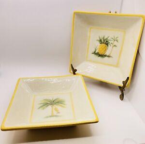 Williams-Sonoma Verano Tile Italy Square Bowls Pineapple Trees Bananas Sun x 2