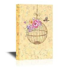 Wall26 - Bird and a Round Bird Cage with Flowers Gallery - CVS - 16x24 inches