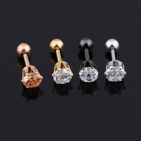 Stainless Steel Round Zircon Ear Cartilage Tragus Helix Piercing Stud Earrings