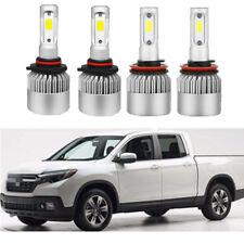 4x Combo COB LED Headlight Kit Hi / Low Beam Bulbs For Honda Ridgeline 2017-2018