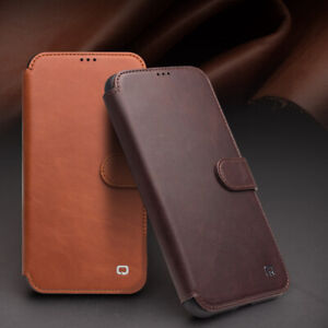 QIALINO  Luxury Genuine Leather Magnetic Flip Wallet Case For iPhone 12 Pro Max