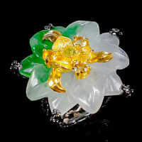 Green Jade Ring Silver 925 Sterling Handmade SET28ct+ Size 8 /R130668