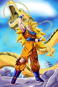 Dragon Ball Z Poster Goku Super SJ 3 w/dragon 12inches x 18inches Free Shipping