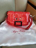 Roger Vivier Paris Coral Patent Leather Clutch Shoulder Bag Purse Baguette Red