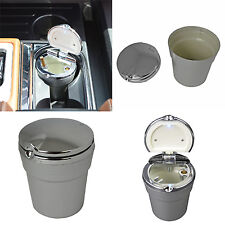 New LED Automotive Cup Ashtray Coin Holder Cigarette Bucket Car Silver For BMW