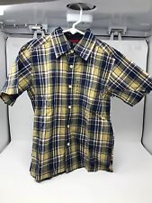NWT GAP Kids Boys Plaid Check Madras Short Sleeve Button Front Shirt Size 6-7 S