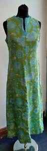 Vintage Richard Shops 1970s A- Line Blue & Green Long floral Dress Size 40  C175