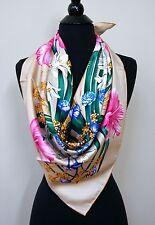 New Authentic Beige Flora Salvatore Ferragamo Twill Silk Scarf