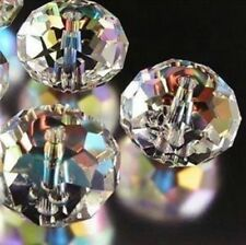 146pcs 3*4mm clear AB Crystal Faceted Roundel Gems Loose Beads