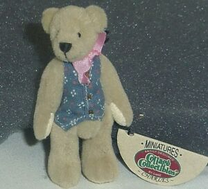 Charles new Ganz Cottage Collectibles miniature 2.75in  bear in grey vest 7221