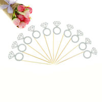10x Glitter Diamond Ring Cupcake Cake Toppers Wedding Cake Decorations newZN