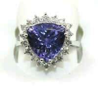 6Ct Trillion Cut Blue Tanzanite & Diamond Engagement Ring 14K White Gold Over