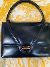 Gucci Vintage Small Kelly Top Handle Bag Dark Navy Leather Wood Turnlock
