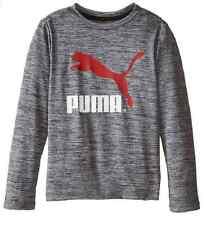 PUMA Baby Boys'  Long Sleeve Logo Tee , Coal Heather Grey, Size 5