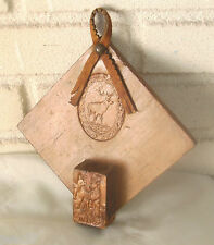 Antique Reindeer and Bulldog Nero Hanging Match Holder Folk Art Wood Carving