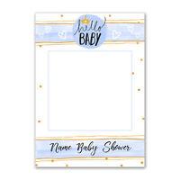 SB006 Baby Boy Shower Blue Personalised Custom Selfie Frame Occasion Prop