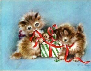 Playful Kitty Cat Kitten Hope Champion Rust Craft VTG Christmas Greeting Card
