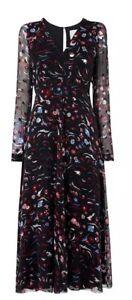 L.K. Bennett 12 Ally Black Pink Devore Chiffon Floaty Floral print Dress LK READ