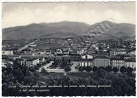 Cartolina di Lucca, panorama con stazione ferrovia e antico acquedotto - 1950