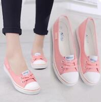 Korean Womens Round Toe Lace Up Pumps Canvas Student Flat Casual Shoes Sport SY