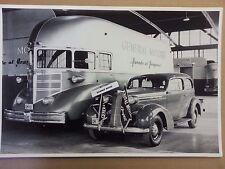 "1936 PONTIAC Sedan with GM General Motors Bus 12 X 18"" Black & White Picture *"