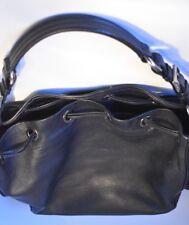 PRADA Black Leather Hobo Handbag Shoulder Bag