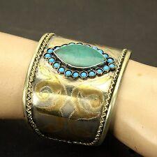 Einzel Turkman Tribal Vergoldet Armband Bauchtanz Echt Malachite Stein 838a8