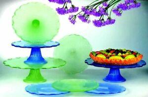"Global Amici Cake/Dessert 4"" Plate Set (4) Carmel Sage Green NEW  All Purpose"