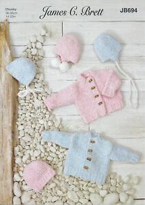Baby Knitting Pattern Jacket Hat Bonnet Helmet James Brett Velvet Chunky JB694