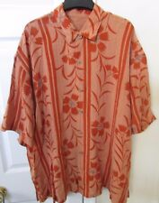 Tommy Bahama 100% Tencel Mens Button Front Camp Shirt XXL Orange Fern Design EUC